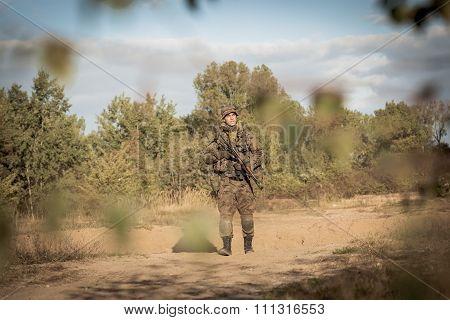 Soldier On Battle Field