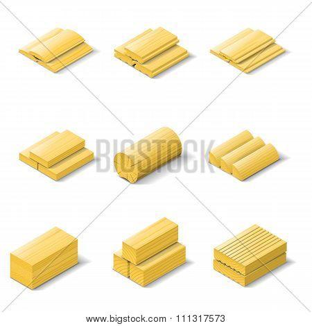 Lumber Isometric Detailed Icon Set