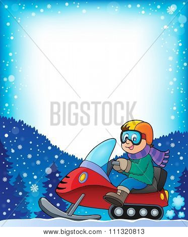 Frame with snowmobile theme 1 - eps10 vector illustration.