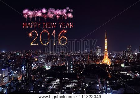 2016 Happy New Year Fireworks Celebrating Over Tokyo Cityscape