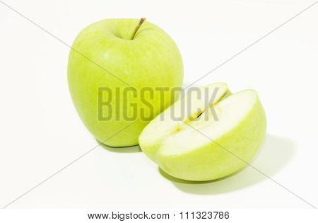 Green apple and half
