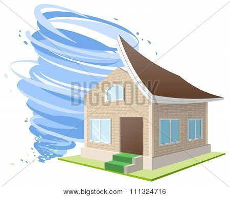 Hurricane winds blew roof off house. Property insurance
