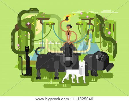 Character Mowgli with animal
