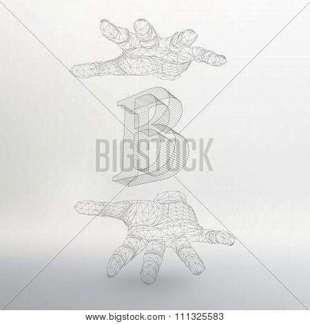Vector illustration of letter B and hand of lines. Fonts of Mesh polygonal. The structural grid of p