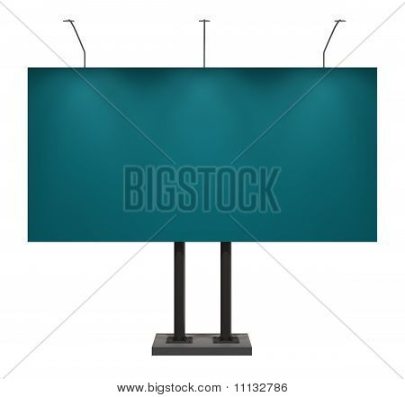 Blank Blue Billboard, Isolated on White