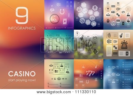 casino infographic with unfocused background