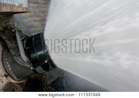 Water from dam valve.