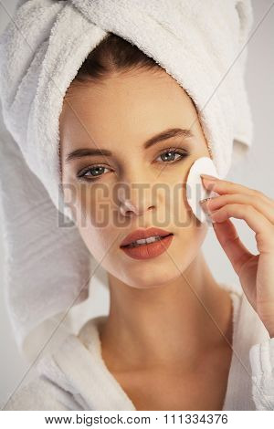 Woman Removing Her Make-up