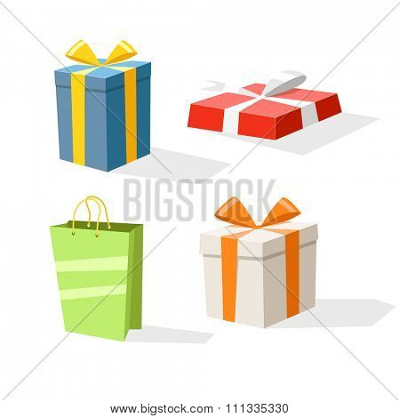 Different color gift boxes isolated on white. Design elements