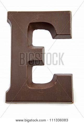 Chocolate Letter E For Sinterklaas