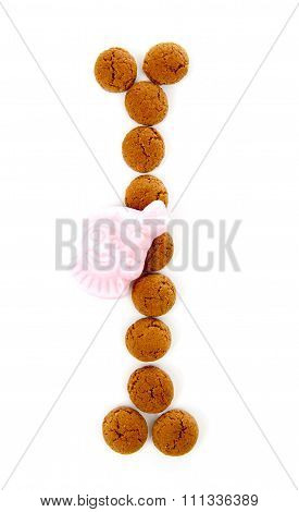 Ginger Nuts, Pepernoten, In The Shape Of Letter I Isolated On White Background