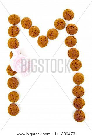 Ginger Nuts, Pepernoten, In The Shape Of Letter A Isolated On White Background