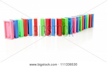 Colorful Domino Bricks In A Row