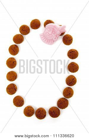 Ginger Nuts, Pepernoten, In The Shape Of Letter O Isolated On White Background