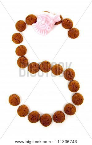 Ginger Nuts, Pepernoten, In The Shape Of Letter S Isolated On White Background