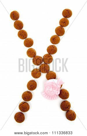 Ginger Nuts, Pepernoten, In The Shape Of Letter X Isolated On White Background