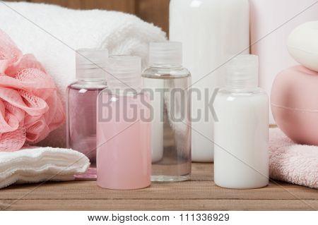 Spa Kit. Shampoo, Soap Bar And Liquid. Toiletries