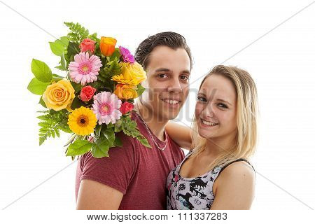 Girl Is Happy With Bouquet Of Flowers Giving By Boyfriend