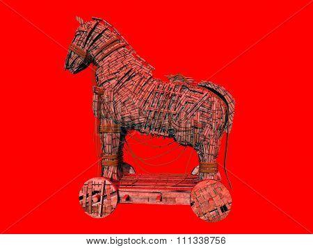 Warning symbol for the computer virus Trojan horse