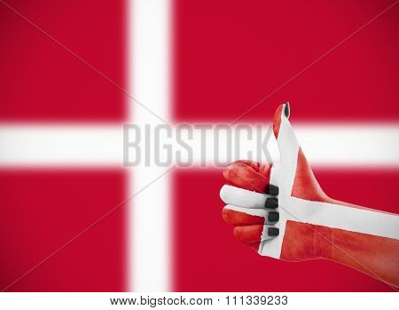 Flag Of Denmark On Female's Hand
