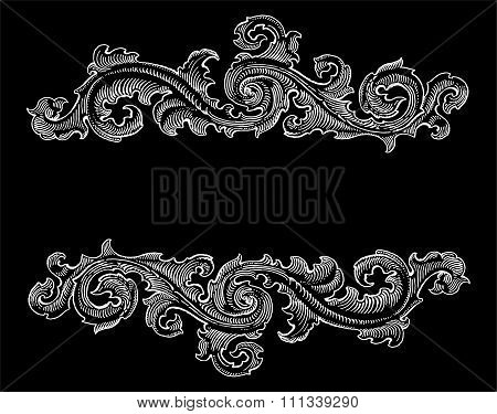 Beautiful Baroque Style White Decorative Calligraphy Floral Vector Ornament On Black. Vintage Logo T
