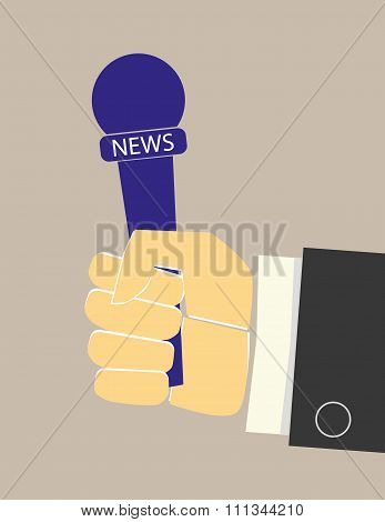News Microphone in Hand