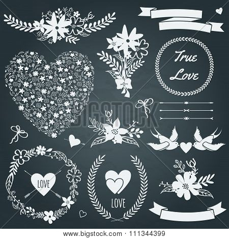 Vector Wedding Set With Bouquets, Birds, Hearts, Arrows, Ribbons, Wreaths, Flowers, Bows, Laurel.