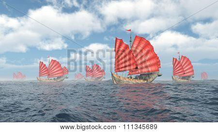 Fleet of Chinese junk ships