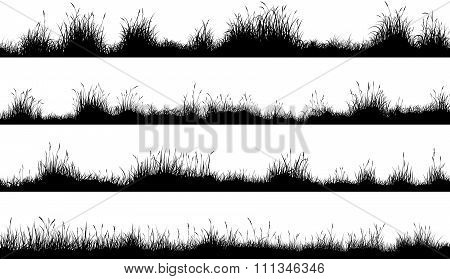 Horizontal Banners Of Meadow Silhouettes With Grass