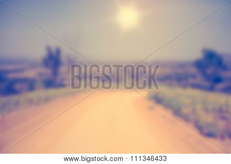Abstract Blurred Road In To The Farm