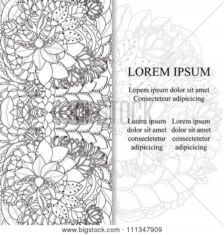 Stock Vector Card Template For Card, Poster, Banner. Floral Doodle.