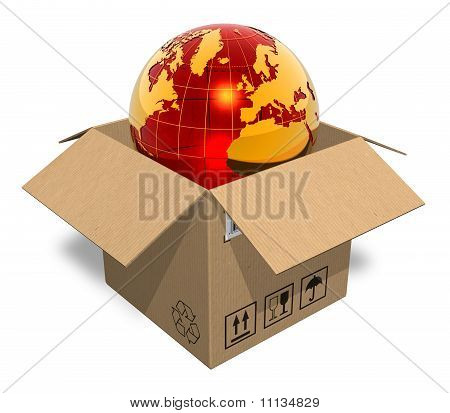 Earth globe in cardboard box