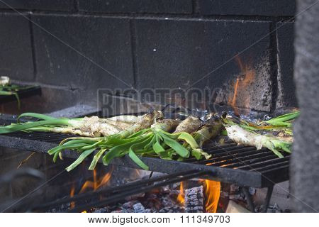 Calçots in a barbeque