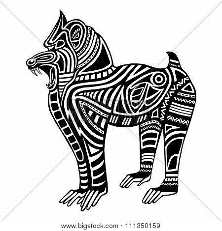 Ethnic black mandrill silhouette. African / totem / tattoo design