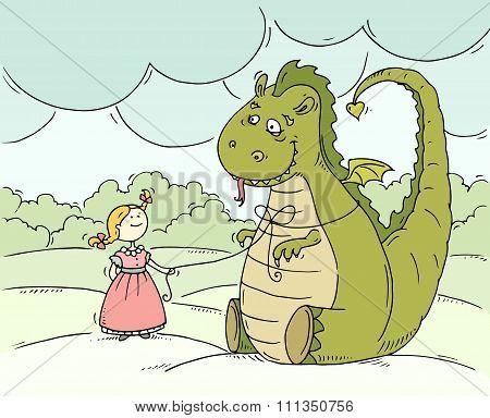 Cartoon Little Princess With Big Dragon