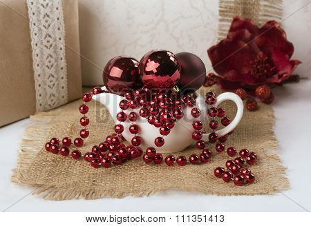 Saucers With Christmas Balls And Beads