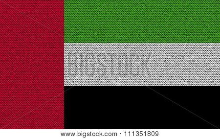 Flags United Arab Emirates On Denim Texture.