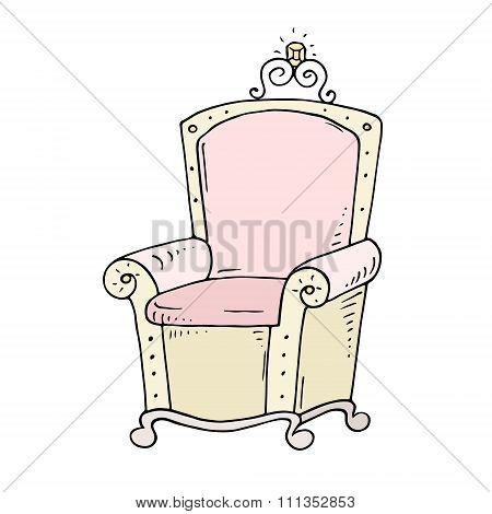 Cute Cartoon Throne For Queen Or Princess
