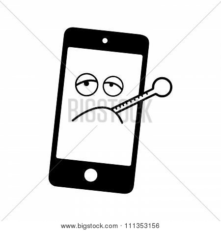 Illustration Vector Black And White Sick Smart Phone With Thermometer.