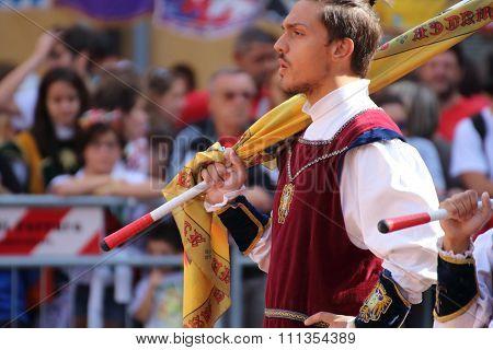 Duel golden. Competition between flag wavers
