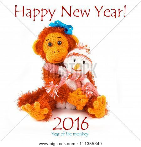 New year 2016. Monkey and snowman on a white background