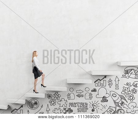 Business Woman Climbing A Career Ladder