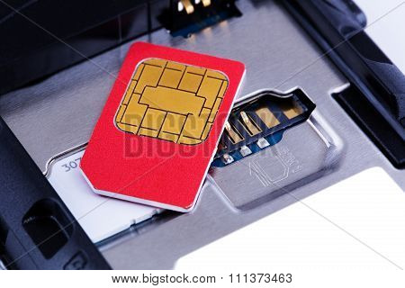 SIM card on the smart phone