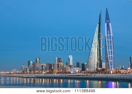 Manama Skyline At Night, Bahrain