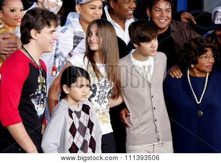 Justin Bieber, Prince Michael, Blanket and Paris Jackson at the Michael Jackson Hand And Footprint Ceremony held at the Grauman's Chinese Theatre in Los Angeles, United States on January 26, 2012.