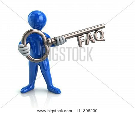 Blue Man And Silver Key With Faq