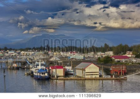Quaint fishing village of Petersburg in Southeast Alaska United States. Location is on Mitkof Island's northern end where Wrangell Narrows joins Frederick Sound. poster