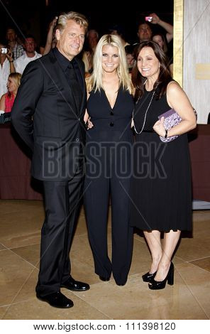 Joe Simpson, Jessica Simpson and Tina Simpson at the Operation Smile's 8th Annual Smile Gala held at the Beverly Hilton Hotel in Beverly Hills, California, United States on October 2, 2009.