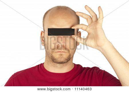 Man hiding eyes