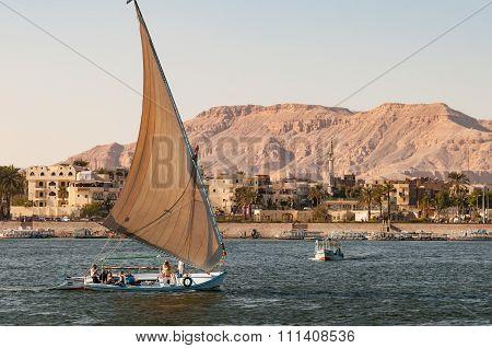 A Felucca On The Nile Near Luxor